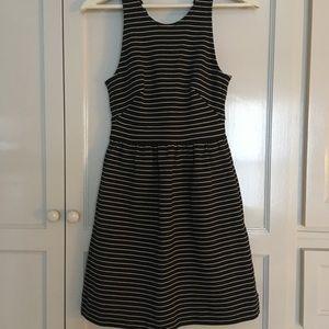 Madewell Black and Ivory Stripe Dress